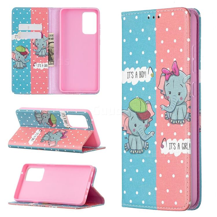 Elephant Boy and Girl Slim Magnetic Attraction Wallet Flip Cover for Samsung Galaxy A72 5G