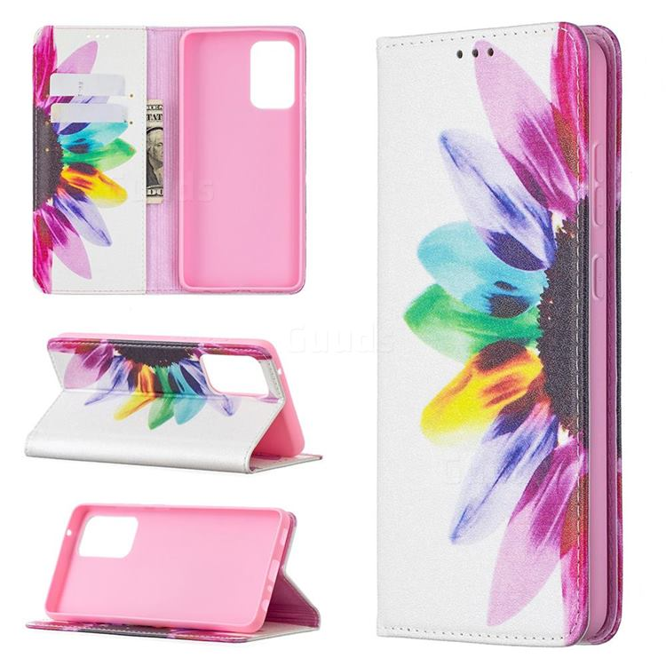 Sun Flower Slim Magnetic Attraction Wallet Flip Cover for Samsung Galaxy A72 5G