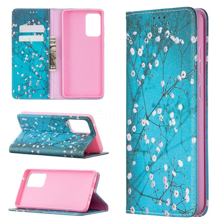 Plum Blossom Slim Magnetic Attraction Wallet Flip Cover for Samsung Galaxy A72 5G