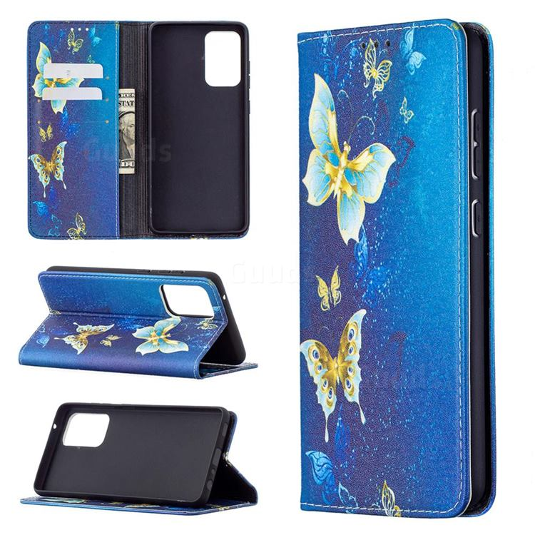 Gold Butterfly Slim Magnetic Attraction Wallet Flip Cover for Samsung Galaxy A72 5G