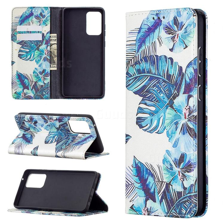 Blue Leaf Slim Magnetic Attraction Wallet Flip Cover for Samsung Galaxy A72 5G