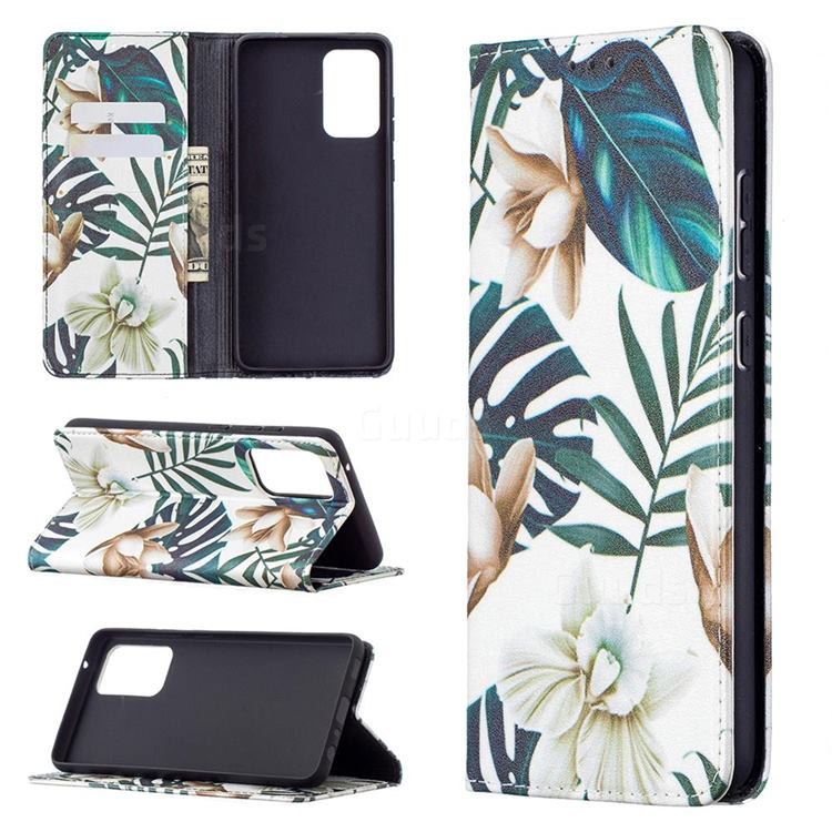 Flower Leaf Slim Magnetic Attraction Wallet Flip Cover for Samsung Galaxy A72 5G
