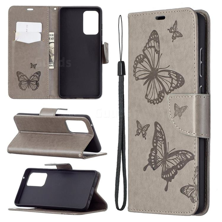 Embossing Double Butterfly Leather Wallet Case for Samsung Galaxy A72 5G - Gray