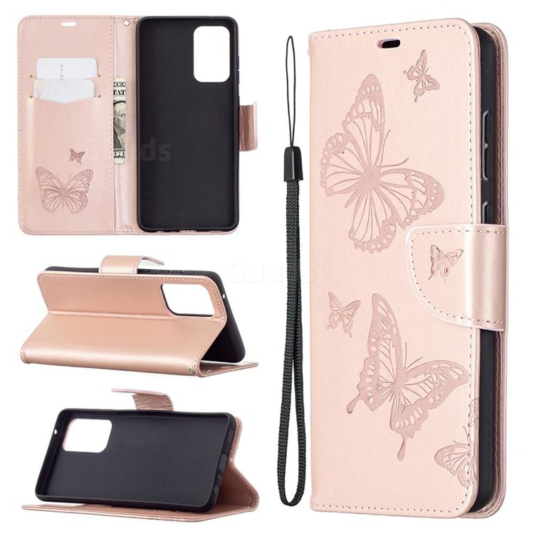 Embossing Double Butterfly Leather Wallet Case for Samsung Galaxy A72 5G - Rose Gold