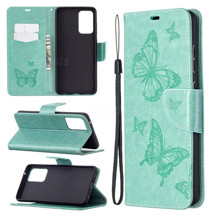 Embossing Double Butterfly Leather Wallet Case for Samsung Galaxy A72 5G - Green