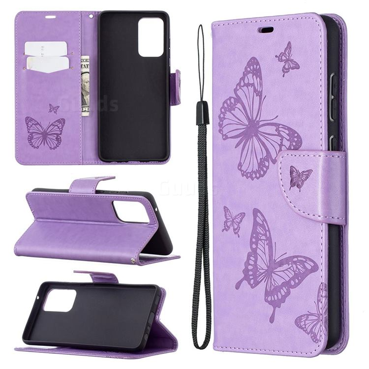 Embossing Double Butterfly Leather Wallet Case for Samsung Galaxy A72 5G - Purple