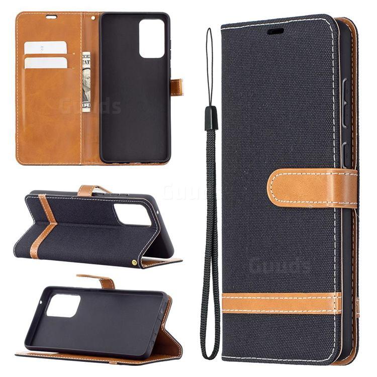 Jeans Cowboy Denim Leather Wallet Case for Samsung Galaxy A72 5G - Black