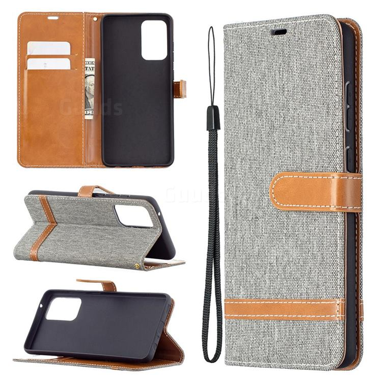 Jeans Cowboy Denim Leather Wallet Case for Samsung Galaxy A72 5G - Gray