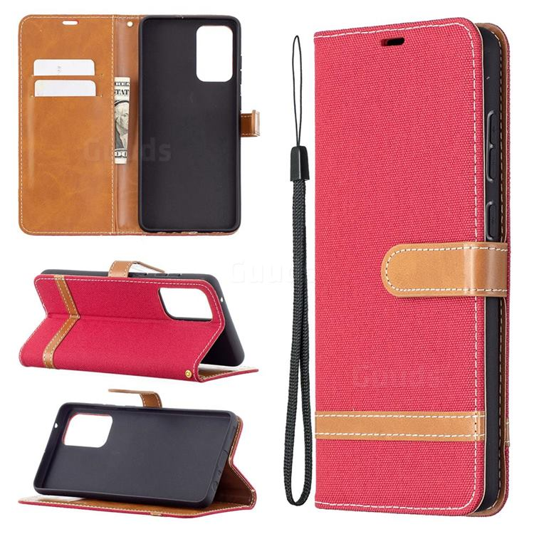 Jeans Cowboy Denim Leather Wallet Case for Samsung Galaxy A72 5G - Red