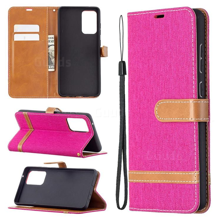 Jeans Cowboy Denim Leather Wallet Case for Samsung Galaxy A72 5G - Rose