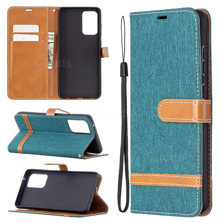 Jeans Cowboy Denim Leather Wallet Case for Samsung Galaxy A72 5G - Green