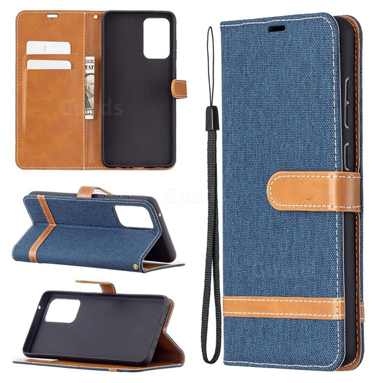 Jeans Cowboy Denim Leather Wallet Case for Samsung Galaxy A72 5G - Dark Blue