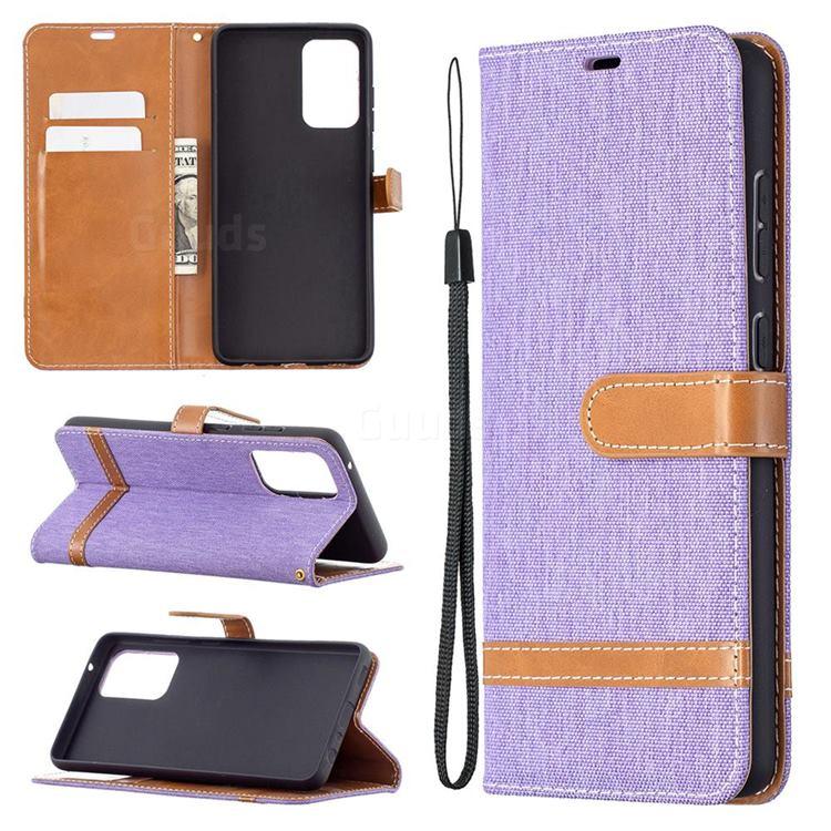Jeans Cowboy Denim Leather Wallet Case for Samsung Galaxy A72 5G - Purple