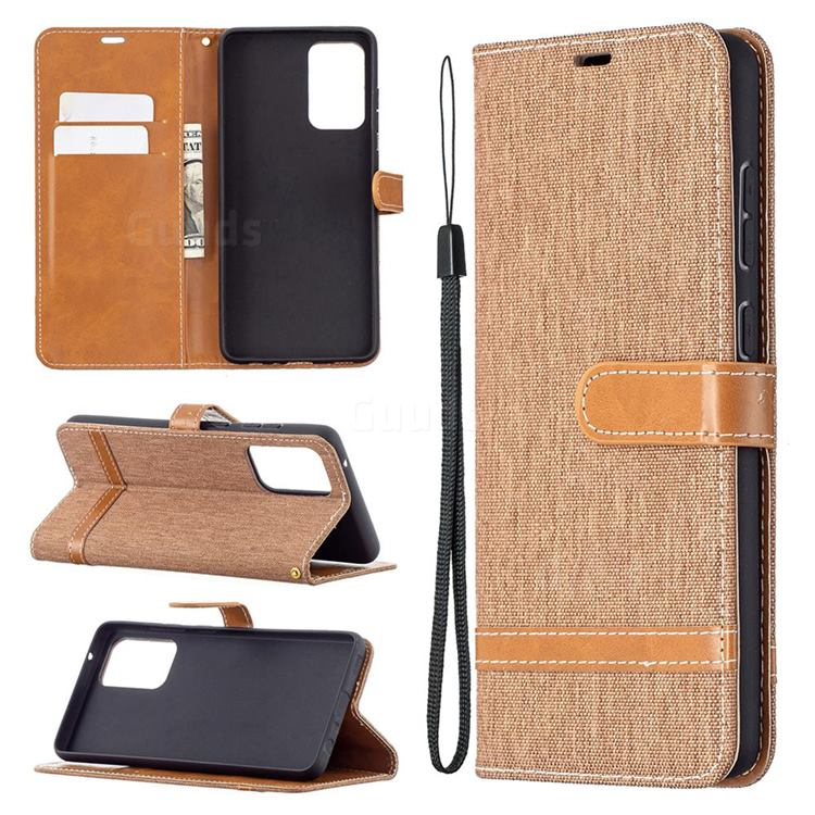 Jeans Cowboy Denim Leather Wallet Case for Samsung Galaxy A72 5G - Brown