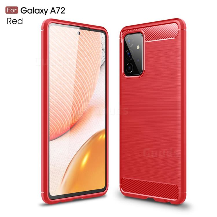 Luxury Carbon Fiber Brushed Wire Drawing Silicone TPU Back Cover for Samsung Galaxy A72 5G - Red
