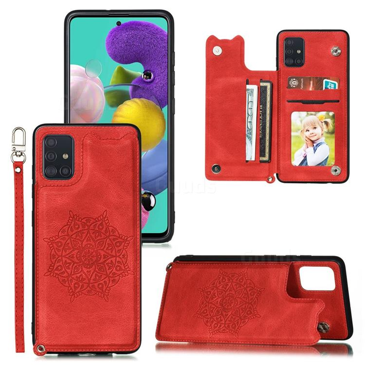 Luxury Mandala Multi-function Magnetic Card Slots Stand Leather Back Cover for Samsung Galaxy A72 5G - Red