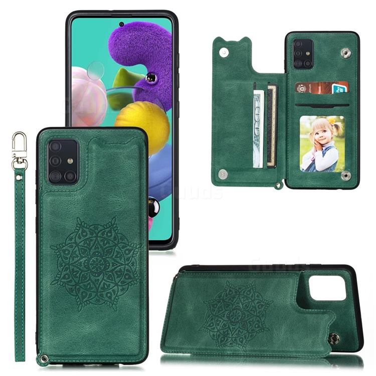Luxury Mandala Multi-function Magnetic Card Slots Stand Leather Back Cover for Samsung Galaxy A72 5G - Green