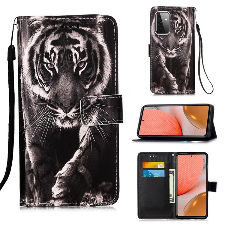 Black and White Tiger Matte Leather Wallet Phone Case for Samsung Galaxy A72 5G