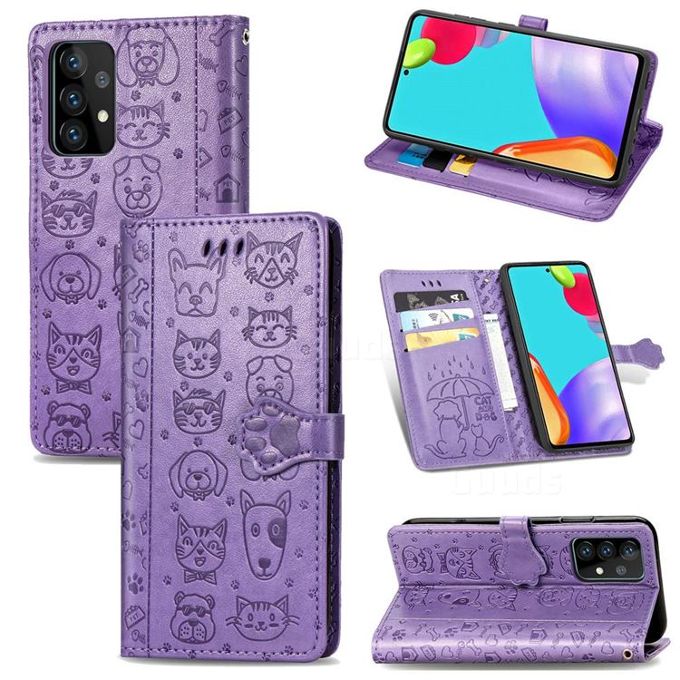 Embossing Dog Paw Kitten and Puppy Leather Wallet Case for Samsung Galaxy A72 5G - Purple
