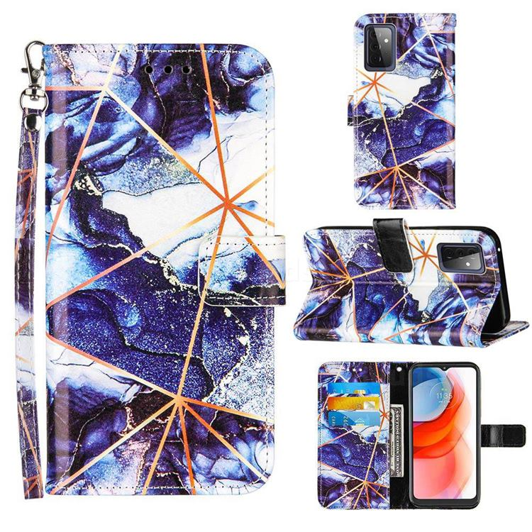Starry Blue Stitching Color Marble Leather Wallet Case for Samsung Galaxy A72 5G