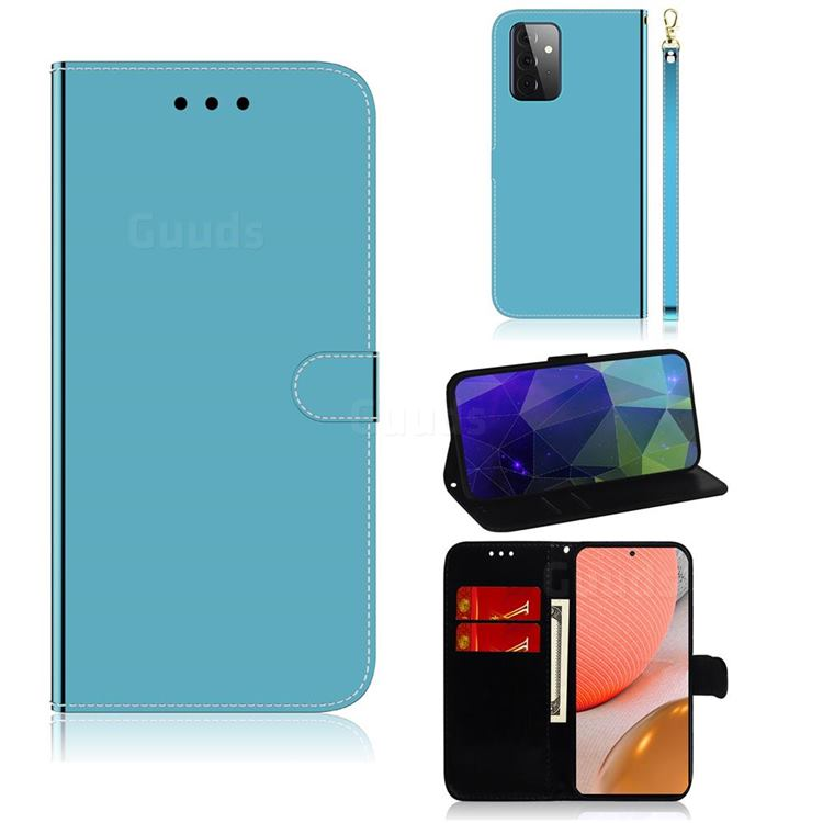 Shining Mirror Like Surface Leather Wallet Case for Samsung Galaxy A72 (4G, 5G) - Blue