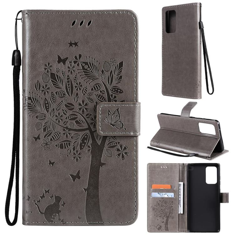 Embossing Butterfly Tree Leather Wallet Case for Samsung Galaxy A72 (4G, 5G) - Grey