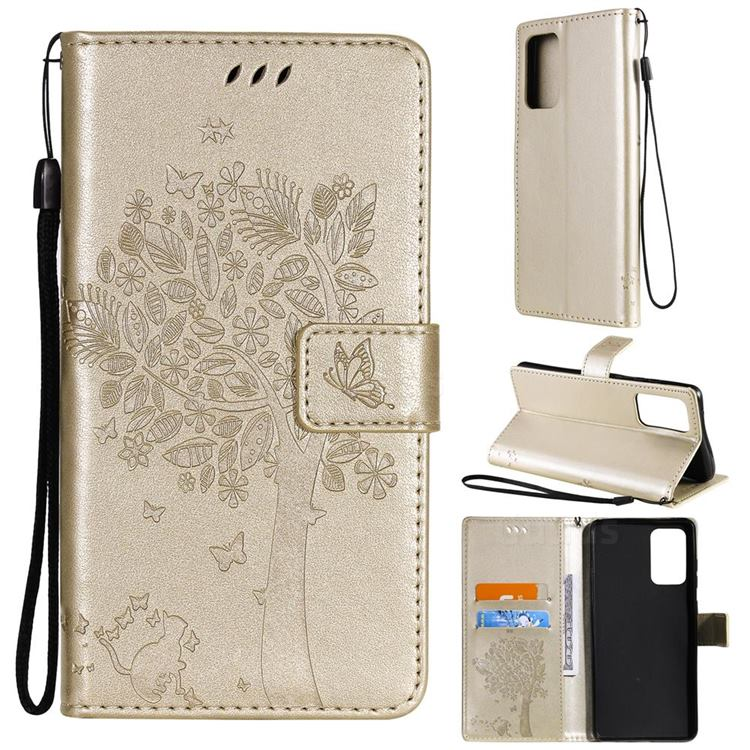 Embossing Butterfly Tree Leather Wallet Case for Samsung Galaxy A72 (4G, 5G) - Champagne