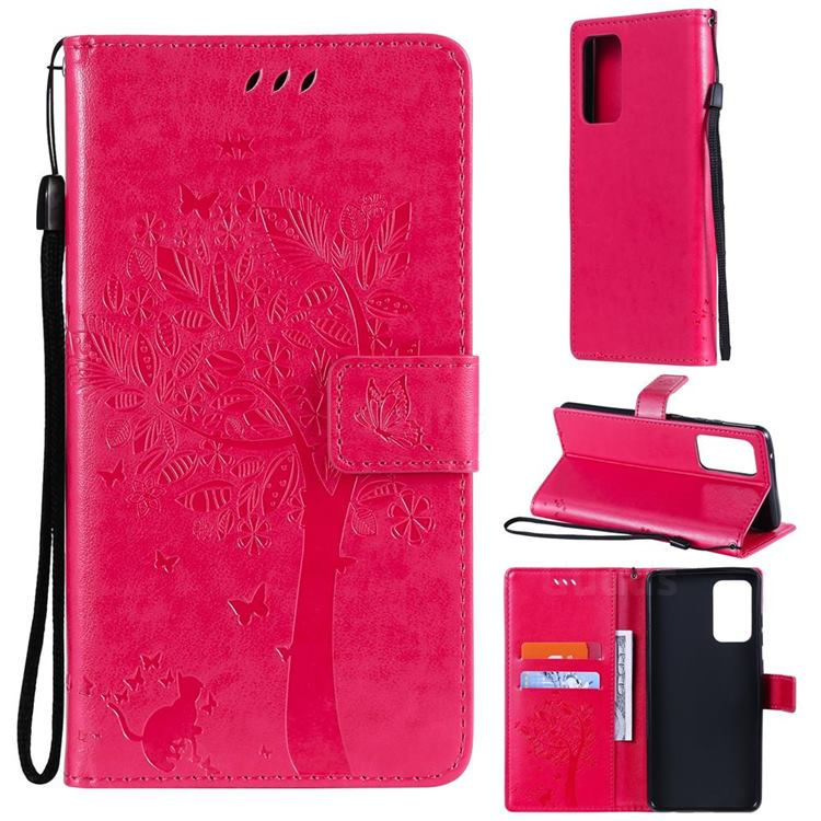 Embossing Butterfly Tree Leather Wallet Case for Samsung Galaxy A72 (4G, 5G) - Rose
