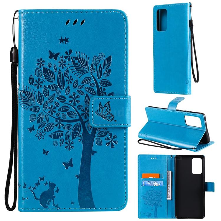 Embossing Butterfly Tree Leather Wallet Case for Samsung Galaxy A72 (4G, 5G) - Blue