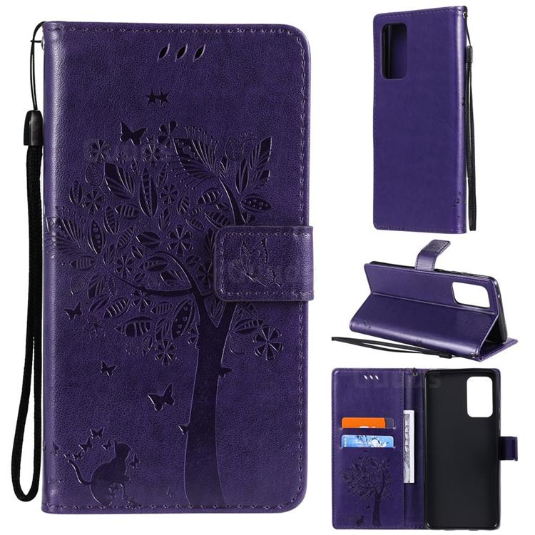 Embossing Butterfly Tree Leather Wallet Case for Samsung Galaxy A72 (4G, 5G) - Purple