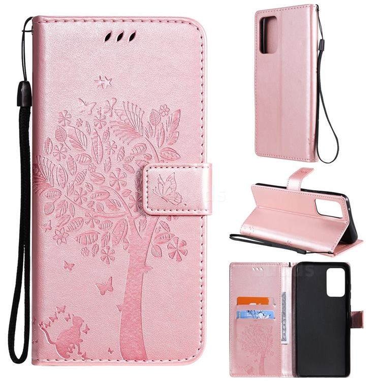 Embossing Butterfly Tree Leather Wallet Case for Samsung Galaxy A72 (4G, 5G) - Rose Pink