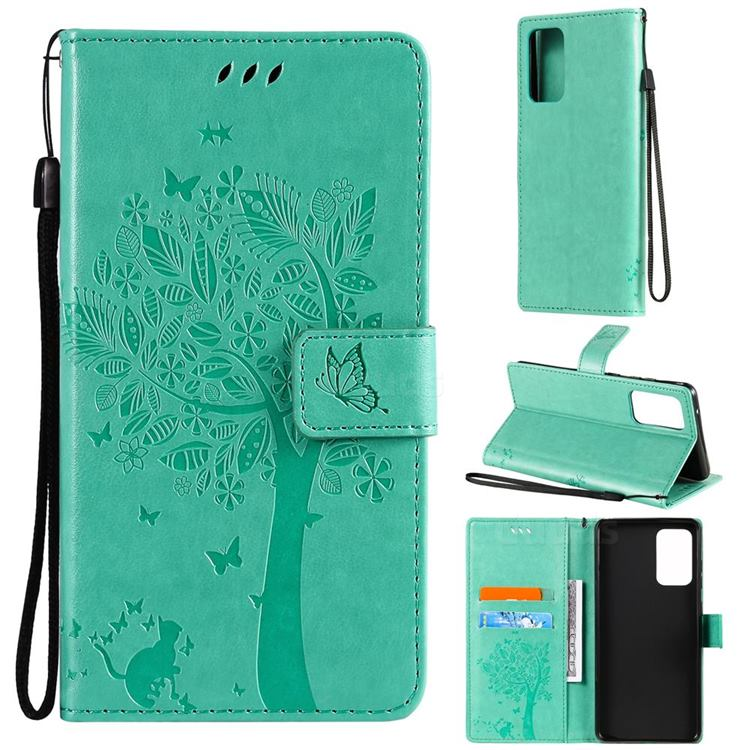 Embossing Butterfly Tree Leather Wallet Case for Samsung Galaxy A72 (4G, 5G) - Cyan