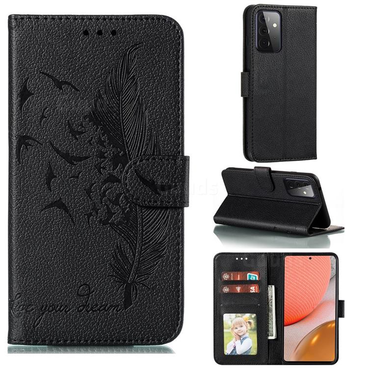 Intricate Embossing Lychee Feather Bird Leather Wallet Case for Samsung Galaxy A72 (4G, 5G) - Black
