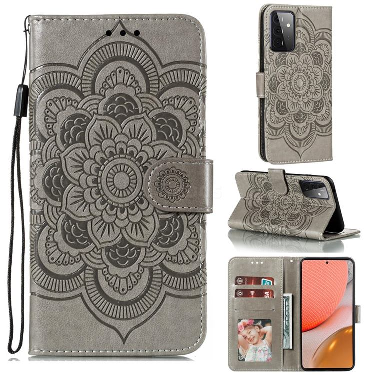 Intricate Embossing Datura Solar Leather Wallet Case for Samsung Galaxy A72 (4G, 5G) - Gray