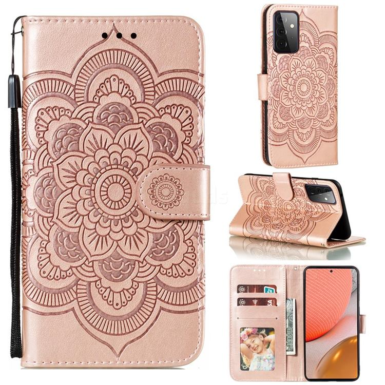 Intricate Embossing Datura Solar Leather Wallet Case for Samsung Galaxy A72 (4G, 5G) - Rose Gold