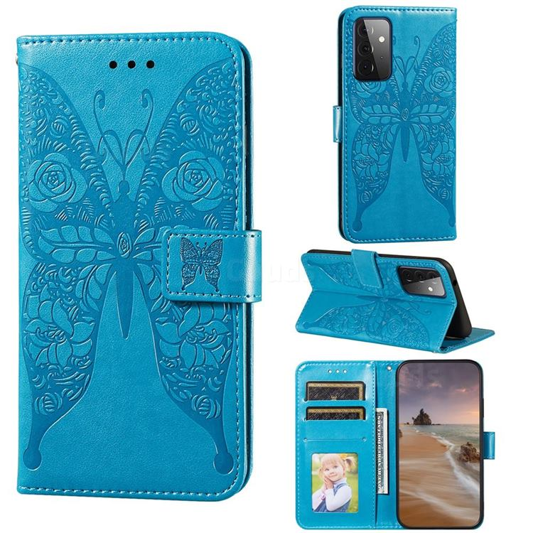 Intricate Embossing Rose Flower Butterfly Leather Wallet Case for Samsung Galaxy A72 (4G, 5G) - Blue