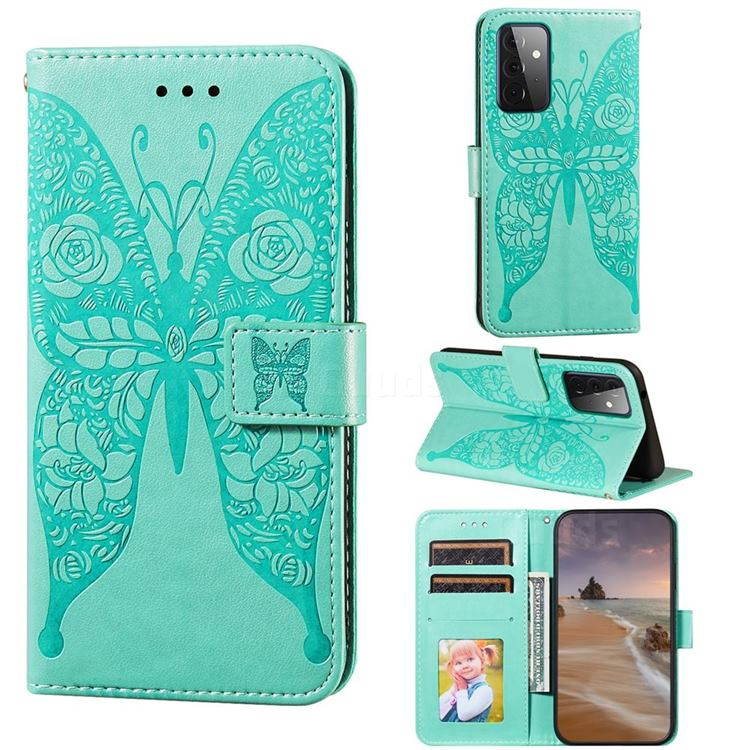 Intricate Embossing Rose Flower Butterfly Leather Wallet Case for Samsung Galaxy A72 (4G, 5G) - Green