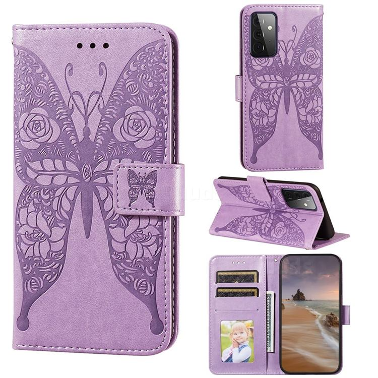 Intricate Embossing Rose Flower Butterfly Leather Wallet Case for Samsung Galaxy A72 (4G, 5G) - Purple
