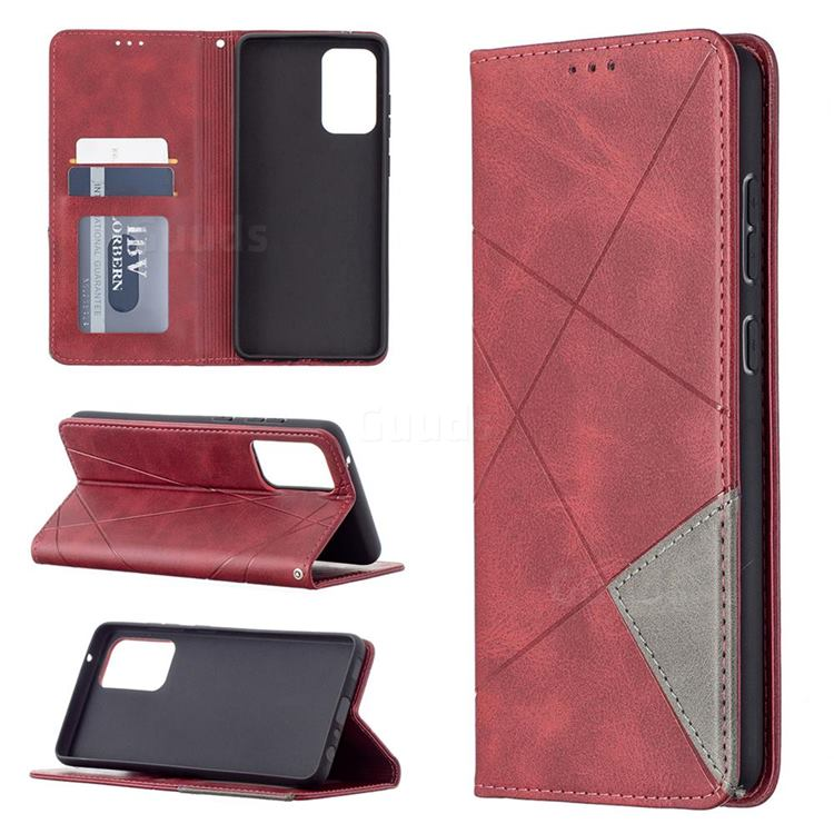 Prismatic Slim Magnetic Sucking Stitching Wallet Flip Cover for Samsung Galaxy A72 (4G, 5G) - Red