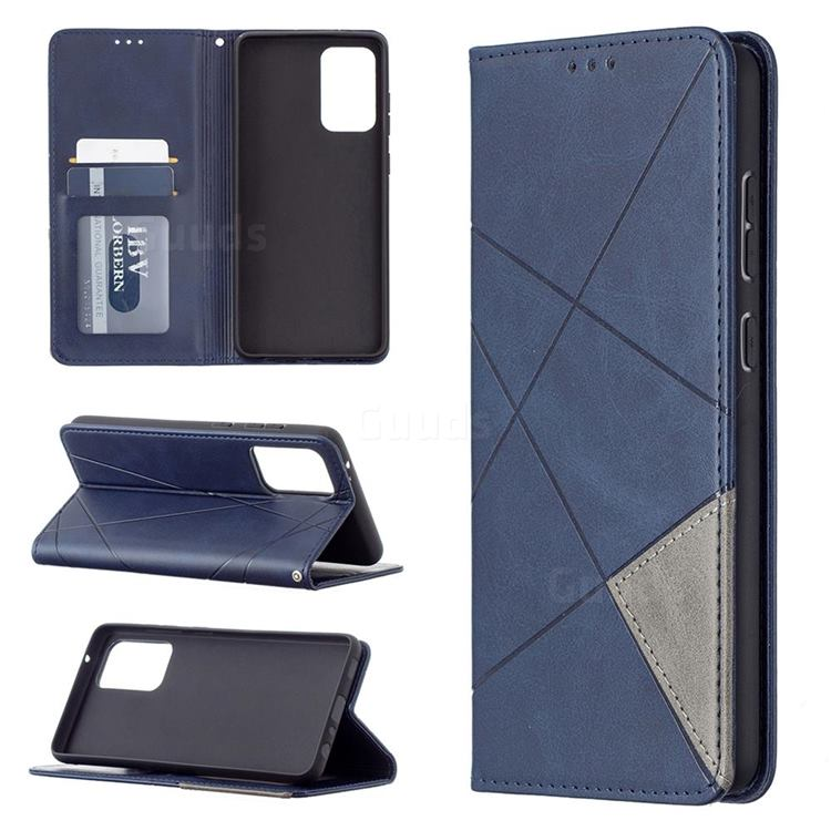 Prismatic Slim Magnetic Sucking Stitching Wallet Flip Cover for Samsung Galaxy A72 (4G, 5G) - Blue