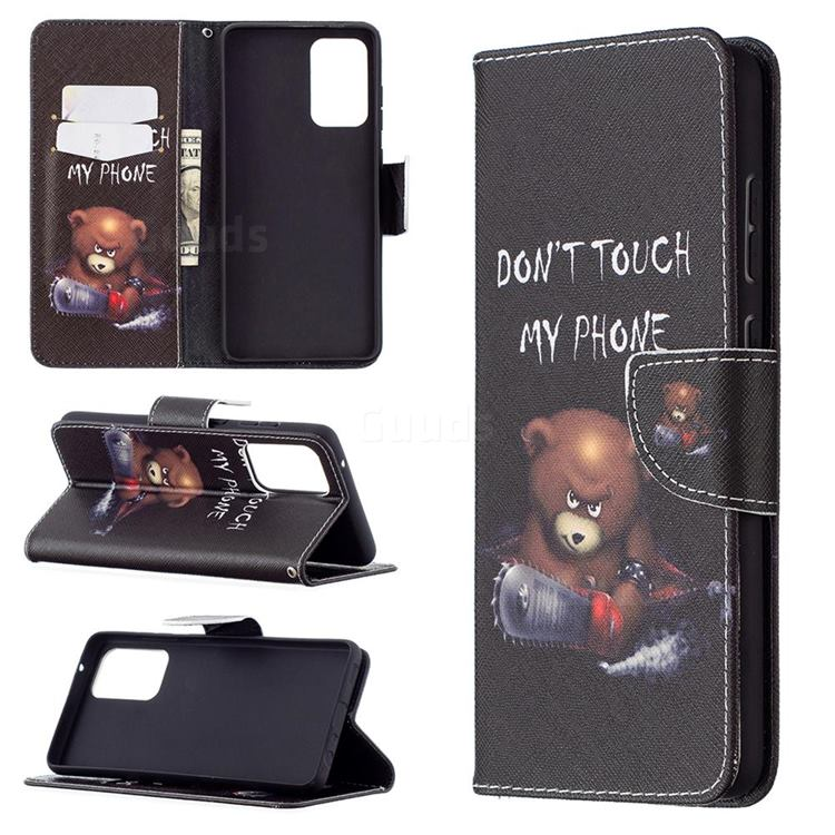 Chainsaw Bear Leather Wallet Case for Samsung Galaxy A72 (4G, 5G)