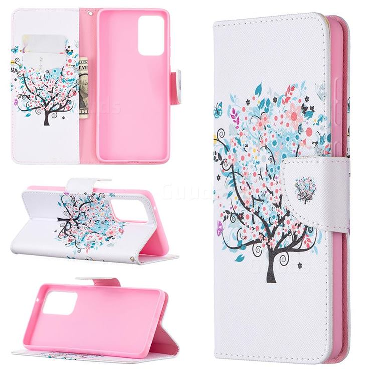 Colorful Tree Leather Wallet Case for Samsung Galaxy A72 (4G, 5G)