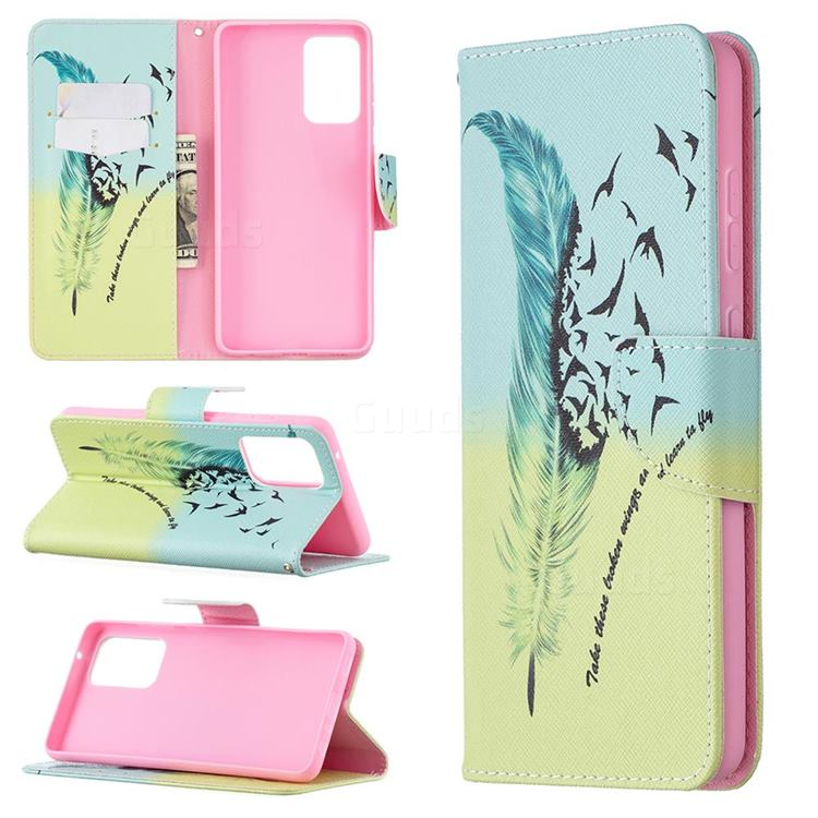 Feather Bird Leather Wallet Case for Samsung Galaxy A72 (4G, 5G)