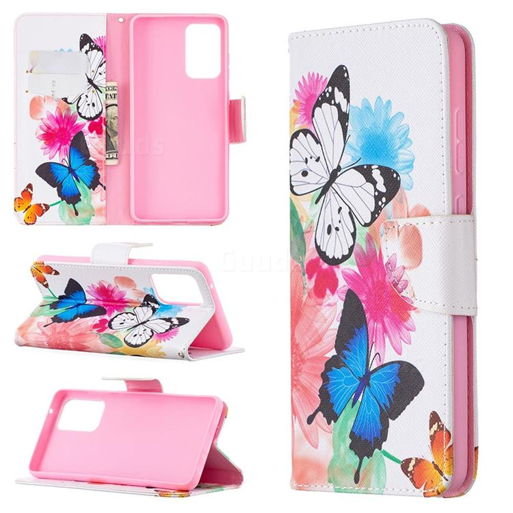 Vivid Flying Butterflies Leather Wallet Case for Samsung Galaxy A72 (4G, 5G)