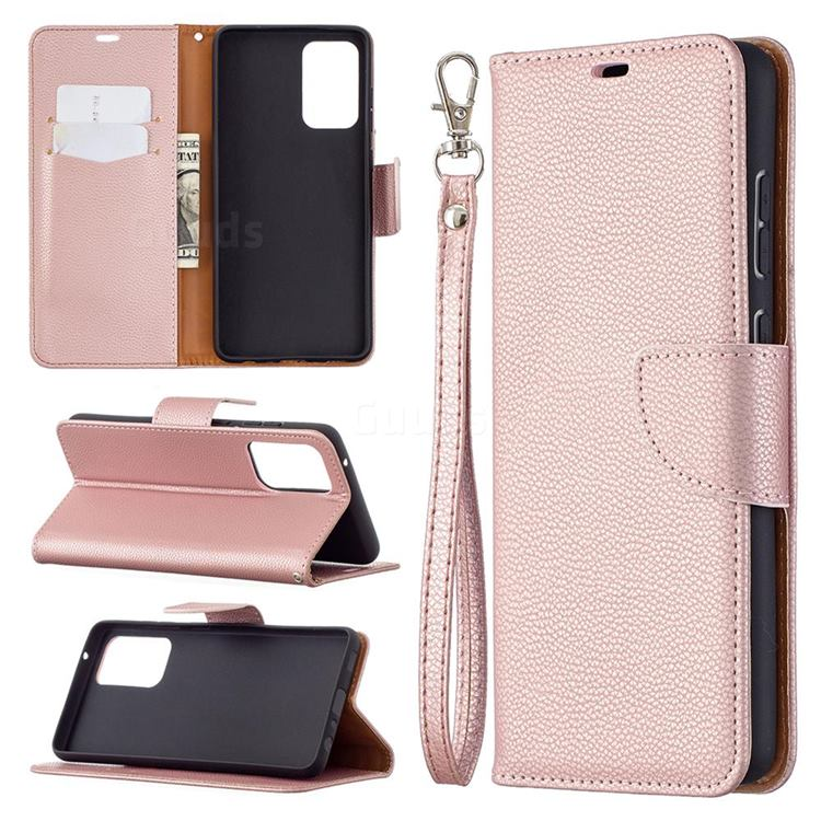 Classic Luxury Litchi Leather Phone Wallet Case for Samsung Galaxy A72 (4G, 5G) - Golden