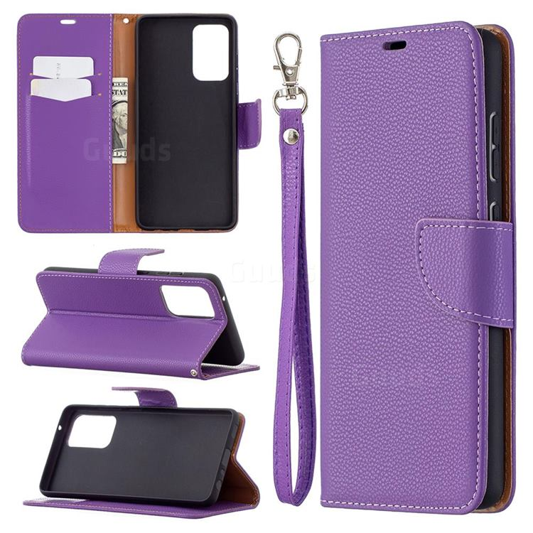 Classic Luxury Litchi Leather Phone Wallet Case for Samsung Galaxy A72 (4G, 5G) - Purple