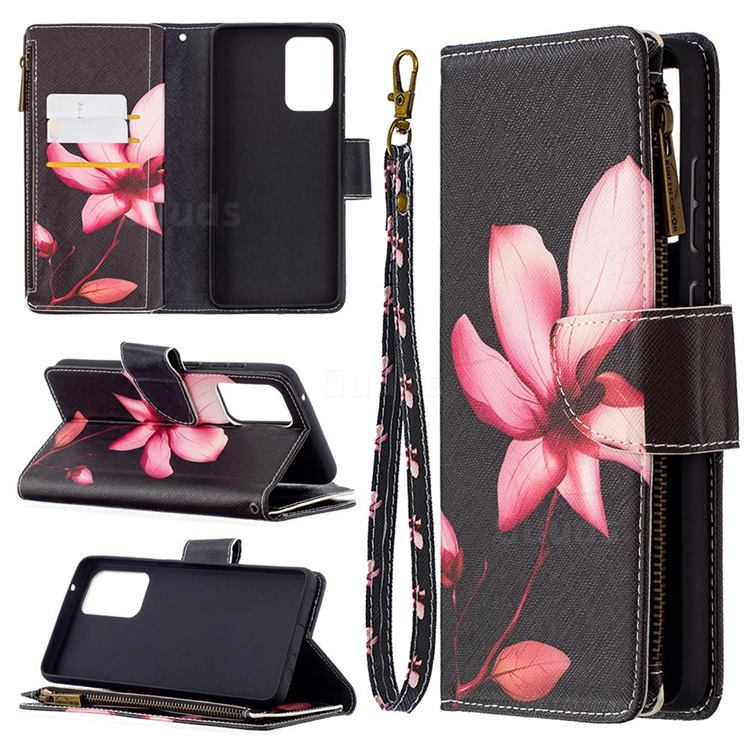 Lotus Flower Binfen Color BF03 Retro Zipper Leather Wallet Phone Case for Samsung Galaxy A72 (4G, 5G)