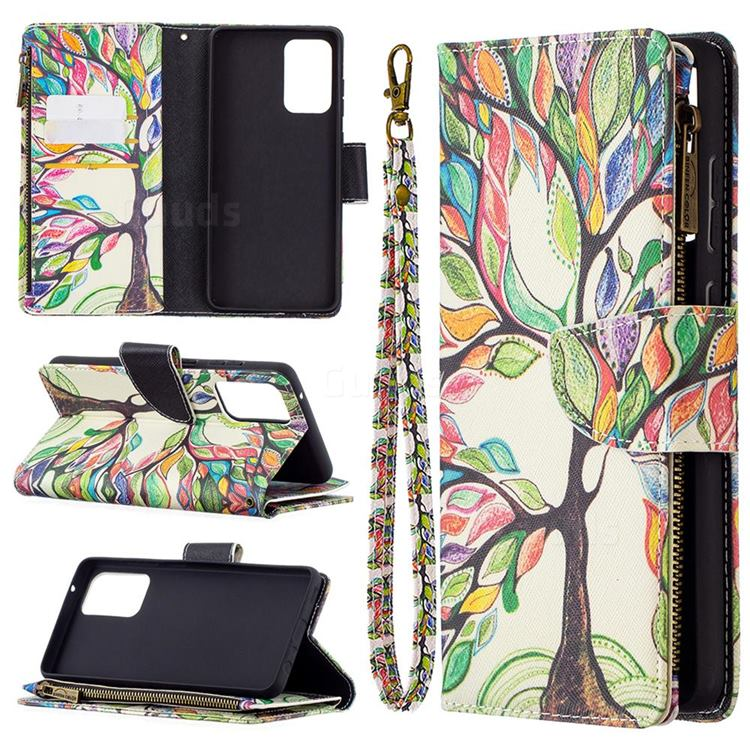 The Tree of Life Binfen Color BF03 Retro Zipper Leather Wallet Phone Case for Samsung Galaxy A72 (4G, 5G)