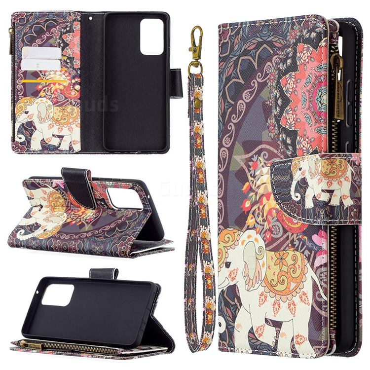 Totem Flower Elephant Binfen Color BF03 Retro Zipper Leather Wallet Phone Case for Samsung Galaxy A72 (4G, 5G)