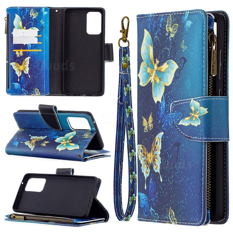 Golden Butterflies Binfen Color BF03 Retro Zipper Leather Wallet Phone Case for Samsung Galaxy A72 (4G, 5G)